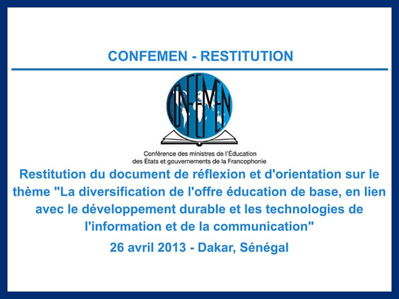CONFEMEN – RESTITUTION : 23-04-2013